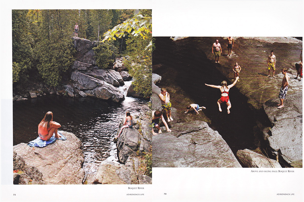 Boquet River and Shoebox Falls, Adirondack Swimming Holes. Adirondack LIfe Magazine.