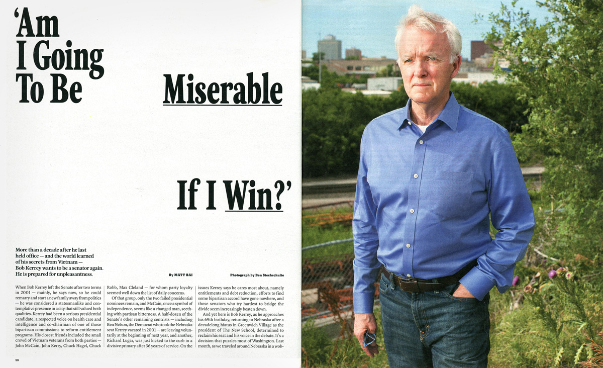 Senator Bob Kerrey. Omaha, NB. The New York Times Magazine.