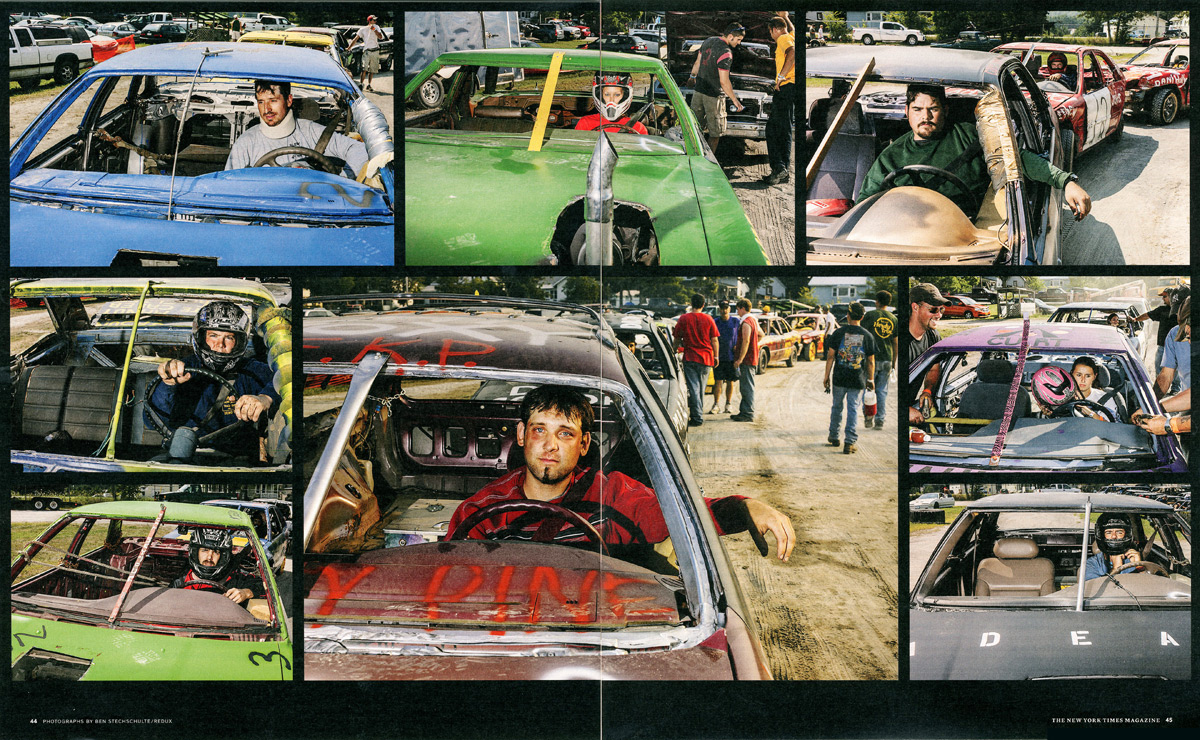 Demolition Derby Driver Portraits. The New York Times Magazine.