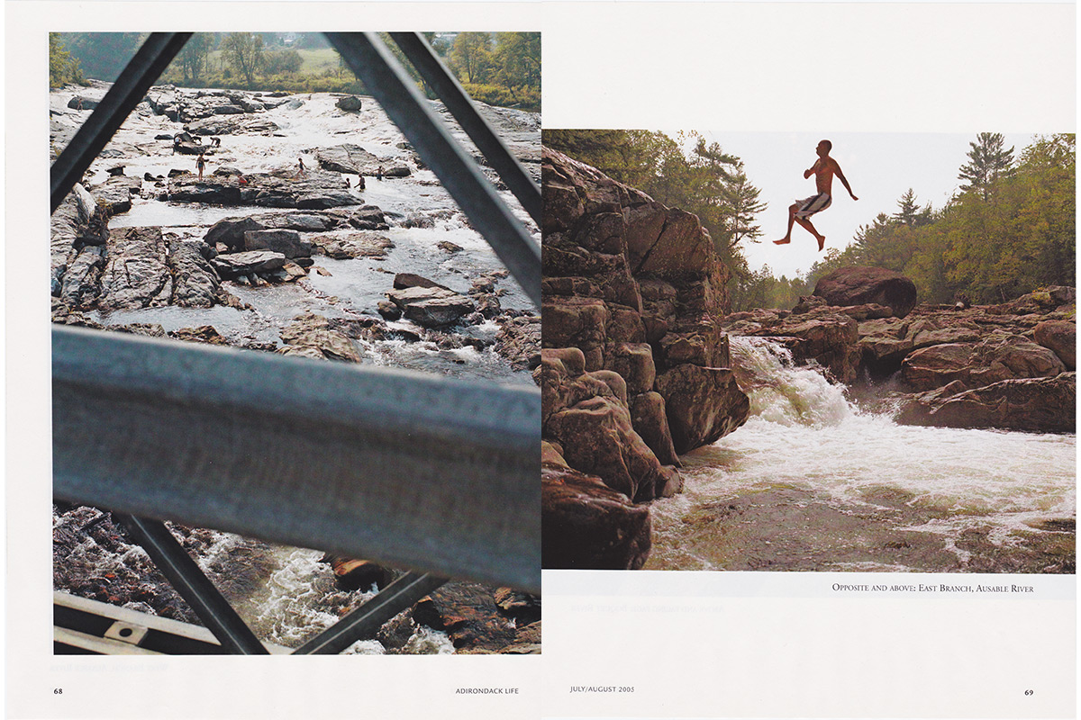 Ausable River and Champagne Falls, Adirondack Swimming Holes. Adirondack Life Magazine