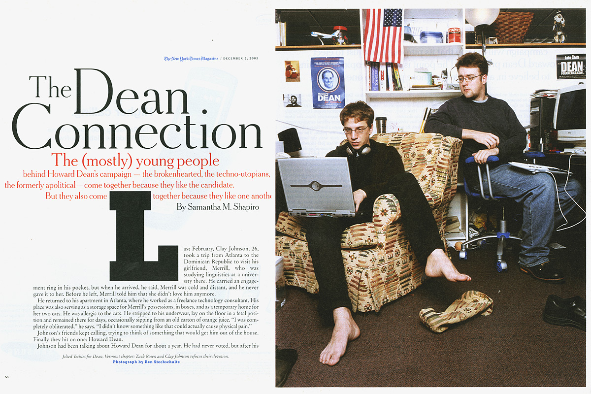 Zack Rosen and Clay Johnson. Burlington, VT. The Dean Swarm. The New York Times Magazine.