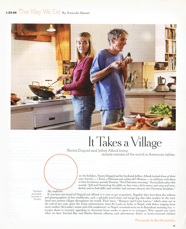 Naomi Duquid and Jeffrey Alford, James Beard Award Winning Cookbook Authors. Toronto, Canada. The New York Times Magazine