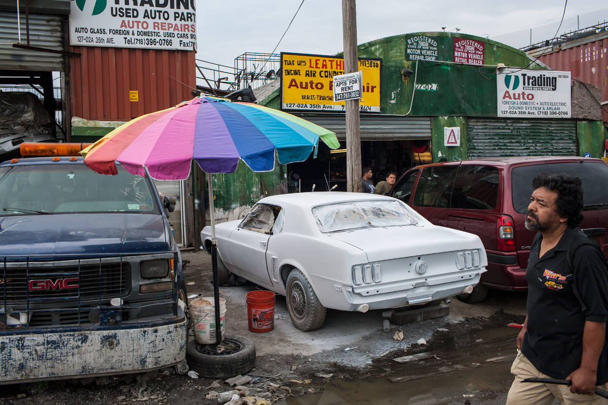 White Mustang. Willets Point, Corona, NY.